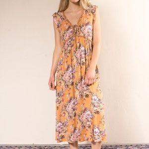 Bijoux Petite Frill Midi Dress - Apricot